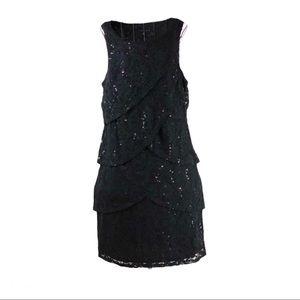 Tiana B Women's Tiered Sequin Lace Black Dress